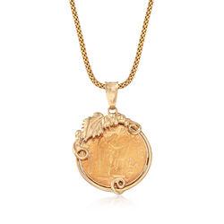 """C. 1980 Vintage 14kt Yellow Gold Genuine 20-Franc Pendant Necklace. 25.25"""", , default"""