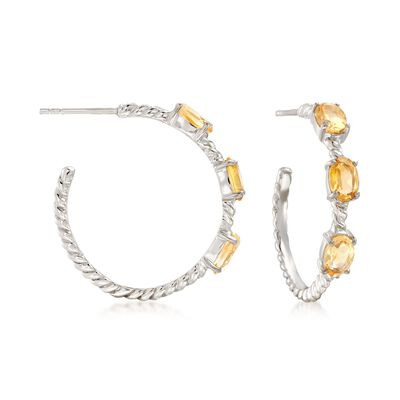 2.70 ct. t.w. Citrine Hoop Earrings in Sterling Silver, , default