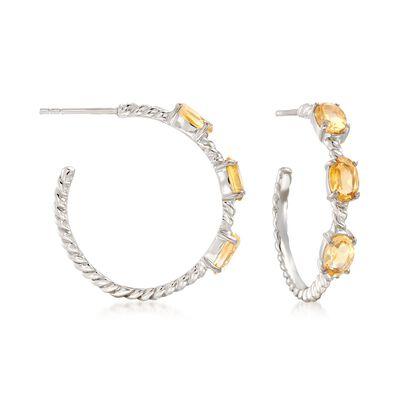 2.70 ct. t.w. Citrine Hoop Earrings in Sterling Silver, , default