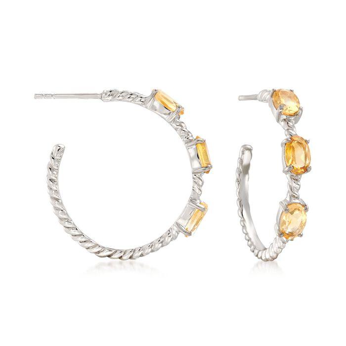 2.70 ct. t.w. Citrine Hoop Earrings in Sterling Silver