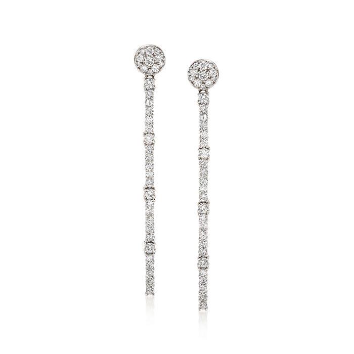 2.09 ct. t.w. Diamond Linear Drop Earrings in 18kt White Gold, , default