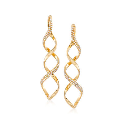 .37 ct. t.w. Diamond Spiral Drop Earrings in 14kt Yellow Gold