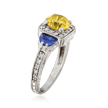 C. 1990 Vintage 2.20 Carat Yellow CZ, .70 ct. t.w. Tanzanite and .40 ct. t.w. Diamond Ring in Platinum. Size 6.75