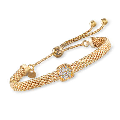 Italian 18kt Gold Over Sterling Mesh Bolo Bracelet with CZ Station, , default