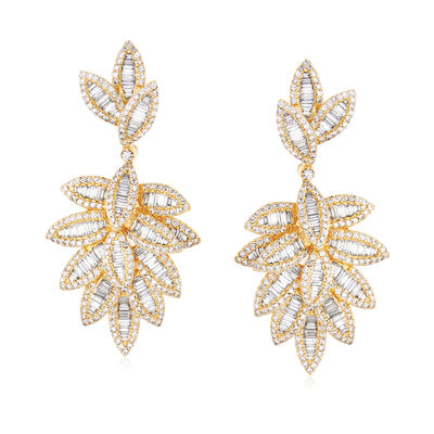 6.87 ct. t.w. Diamond Multi-Leaf Drop Earrings in 18kt Yellow Gold, , default