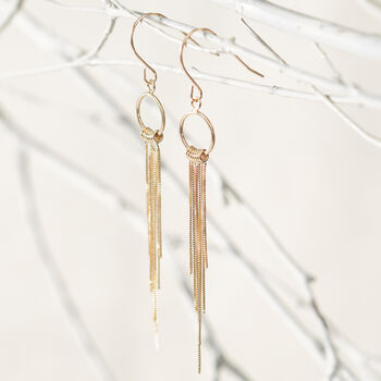 14kt Yellow Gold Open Circle and Tassel Drop Earrings, , default