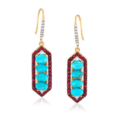 Turquoise and 1.20 ct. t.w. Multi-Gemstone Drop Earrings in 18kt Gold Over Sterling