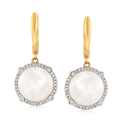 10mm Cultured Pearl and .18 ct. t.w. Diamond Drop Earrings in 14kt Yellow Gold