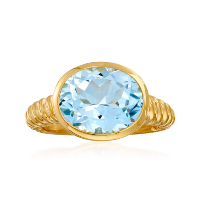 6.75 Carat Oval Sky Blue Topaz Ring in 18kt Gold Over Sterling