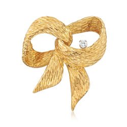 C. 1980 Vintage Henry Dankner 18kt Yellow Gold Bow Pin With .15 Carat Diamond, , default