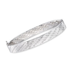 Italian 14kt White Gold Geometric-Pattern Bangle Bracelet, , default
