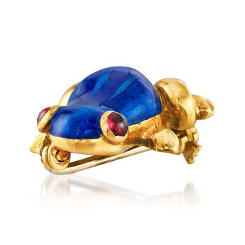 C. 1980 Vintage Blue Enamel Frog Pin with Ruby Accents in 18kt Yellow Gold