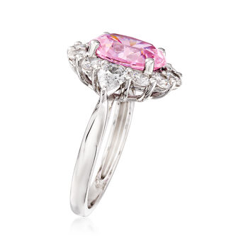 Simulated Pink Sapphire and 2.00 ct. t.w. CZ Ring in Sterling Silver, , default