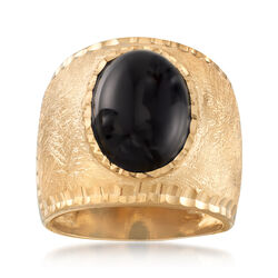 Italian Oval Black Onyx Multi-Finished Ring in 18kt Gold Over Sterling, , default