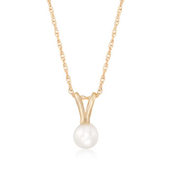 """Child's 4mm Cultured Pearl Solitaire Necklace in 14kt Yellow Gold. 15"""", , default"""