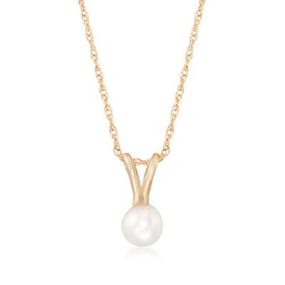 Child's 4mm Cultured Pearl Solitaire Necklace in 14kt Yellow Gold, , default