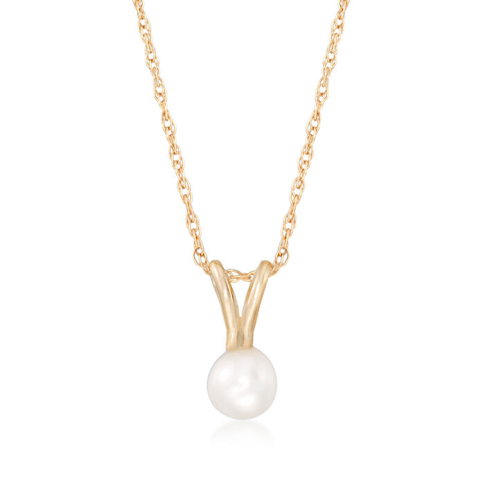 "Child's 4mm Cultured Pearl Solitaire Necklace in 14kt Yellow Gold. 15"", , default"