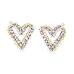 .13 ct. t.w. Diamond Open-Space Heart Earrings in 14kt Yellow Gold, , default