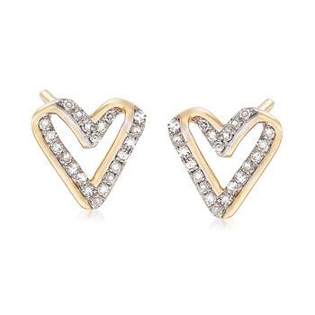 .13 ct. t.w. Diamond Open-Space Heart Earrings in 14kt Yellow Gold , , default