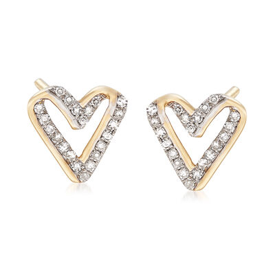 .13 ct. t.w. Diamond Open-Space Heart Earrings in 14kt Yellow Gold, , default
