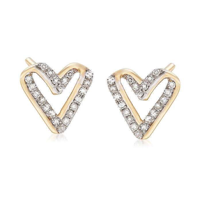 .13 ct. t.w. Diamond Open-Space Heart Earrings in 14kt Yellow Gold , , default