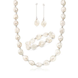 11-12mm Cultured Baroque Pearl and Sterling Silver Jewelry Set: Earrings, Bracelet and Necklace, , default