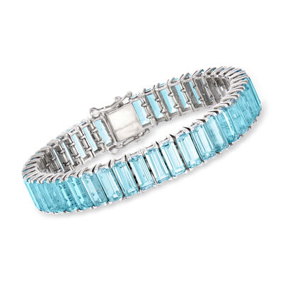 50.00 ct. t.w. Sky Blue Topaz Bracelet in Sterling Silver, , default