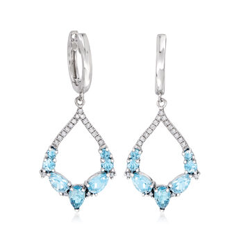 2.10 ct. t.w. London and Sky Blue Topaz and .16 ct. t.w. Diamond Drop Earrings in 14kt White Gold, , default