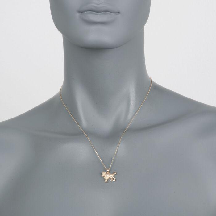 "14kt Yellow Gold Poodle Dog Pendant Necklace. 18"", , default"