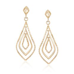 14kt Yellow Gold Open Teardrop Earrings, , default