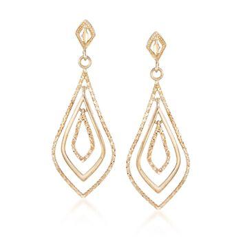 14kt Yellow Gold Open Teardrop Earrings, , default