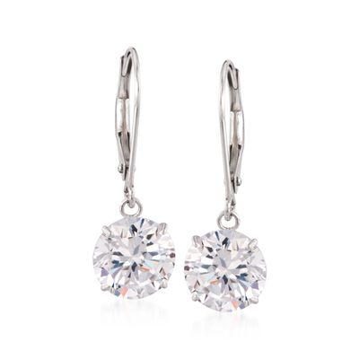 4.00 ct. t.w. CZ Drop Earrings in 14kt White Gold, , default