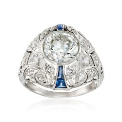 C. 1960 Vintage 2.65 ct. t.w. Diamond and .30 ct. t.w. Sapphire Dome Ring in Platinum, , default