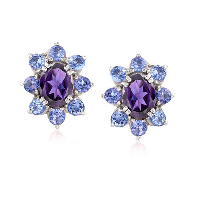 2.20 ct. t.w. Amethyst and 1.60 ct. t.w. Tanzanite Halo Drop Earrings in Sterling Silver, , default
