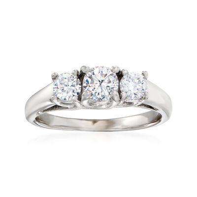 C. 1990 Vintage 1.00 ct. t.w. Diamond Three-Stone Ring in 14kt White Gold