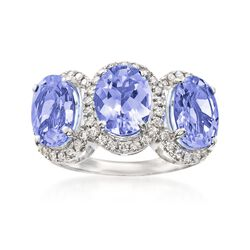 4.60 ct. t.w. Tanzanite and .41 ct. t.w. Diamond Ring in 14kt White Gold, , default