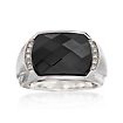 Men's Black Onyx Ring with Diamond Accents in Sterling Silver, , default