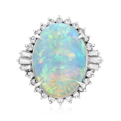 C. 1980 Vintage Opal and .83 ct. t.w. Diamond Ring in Platinum, , default