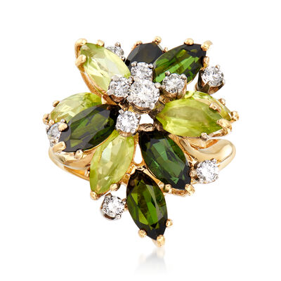 C. 1970 Vintage 2.30 ct. t.w. Peridot and 2.25 ct. t.w. Green Tourmaline Ring with .60 ct. t.w. Diamonds in 18kt Yellow Gold, , default