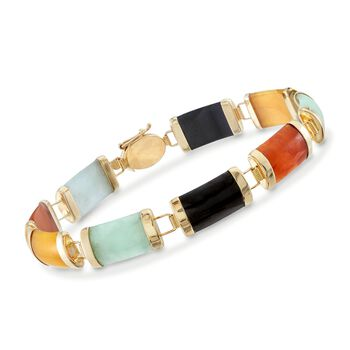 "Multicolored Jade Bracelet in 14kt Yellow Gold. 7.25"", , default"