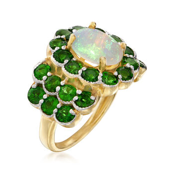 Opal and 3.10 ct. t.w. Chrome Diopside Ring in 18kt Gold Over Sterling