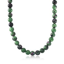 12mm Ruby-In-Zoisite Bead Necklace With Sterling Silver, , default