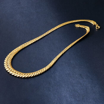 18kt Yellow Gold Graduated Cuban Link Necklace, , default