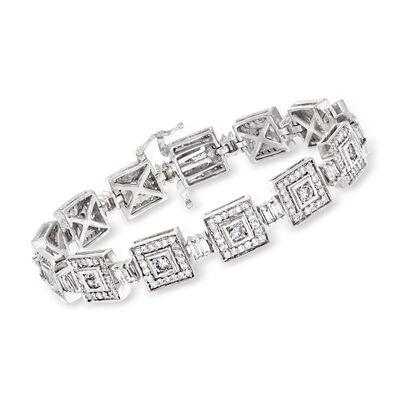 C. 1980 Vintage 6.80 ct. t.w. Diamond Square-Link Bracelet in 14kt White Gold, , default