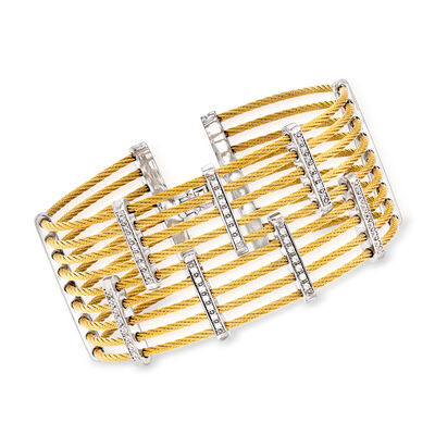 "ALOR ""Classique"" .41 ct. t.w. Diamond Multi-Row Yellow Stainless Steel Cable Bracelet with 18kt White Gold"