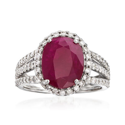 3.50 Carat Ruby and .84 ct. t.w. Diamond Triple-Shank Ring in 18kt White Gold, , default
