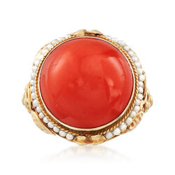C. 1950 Vintage Round Coral and Cultured Seed Pearl Ring in 14kt Yellow Gold, , default