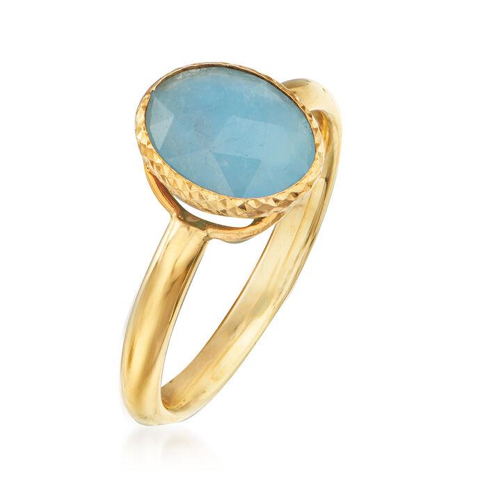 Italian 3.60 Carat Bezel-Set Aquamarine Ring in 14kt Yellow Gold