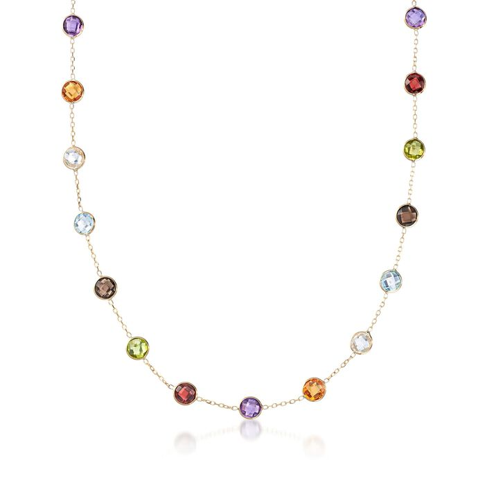 13.80 ct. t.w. Bezel-Set Multi-Gemstone Station Necklace in 14kt Yellow Gold, , default