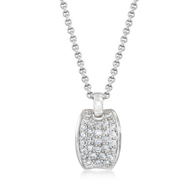 "Belle Etoile ""Lucia White"" 1.55 ct. t.w. CZ Pendant in Sterling Silver, , default"